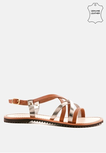 RAG & CO brown Strappy Flat Leather Sandals 8C4FDSH0983E2CGS_1