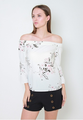 Leline Style white Julianna Floral Offshoulder Blouse F8121AAABB9142GS_1