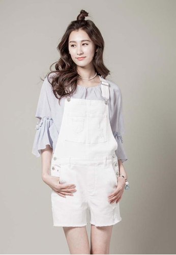 H:CONNECT white SHARKEE Overall Shorts 83337AAA986A81GS_1
