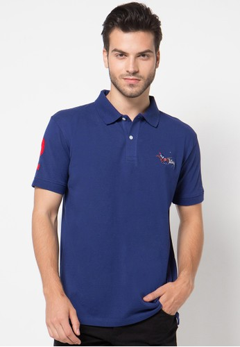 Fashion Polo Shirt With Colorful Horse Embroidery & Number Patch On Sleeve