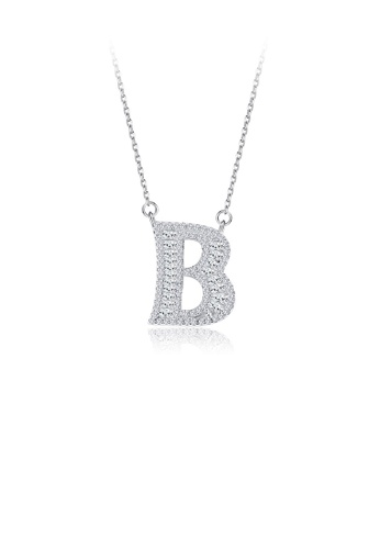 Glamorousky white 925 Sterling Silver Fashion Personality English Alphabet B Cubic Zircon Necklace B83A9ACE17FBEEGS_1