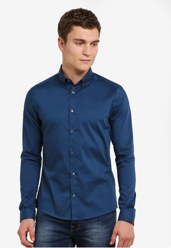 Burton Menswear London 藍色 長袖 湖水藍 Stretch Casual 襯衫 BU964AA0RZGRMY_1