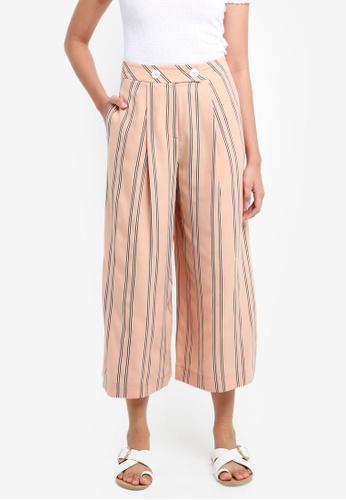 TOPSHOP beige Stripe Crop Wide Trousers 489F9AA6F8288BGS_1