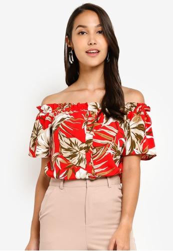 3b10952336c66e Buy Dorothy Perkins Petite Red Tropical Bardot Top Online on ZALORA ...