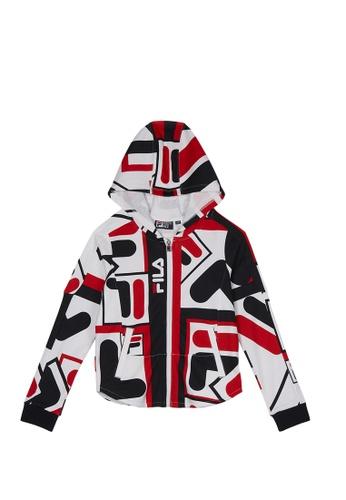 FILA white FILA KIDS All Over F-box Logo Cotton Hooded Jacket 10-16yrs 047F6KAF35A476GS_1