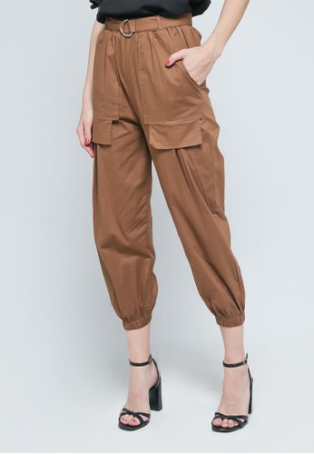 9 to 12 brown Cargo Jogger Pants With Belt [2955] 62259AA74305B3GS_1