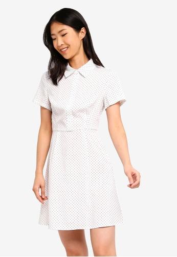 ZALORA BASICS white Basic Pleated Shirt Dress EDB05AA9D86602GS_1