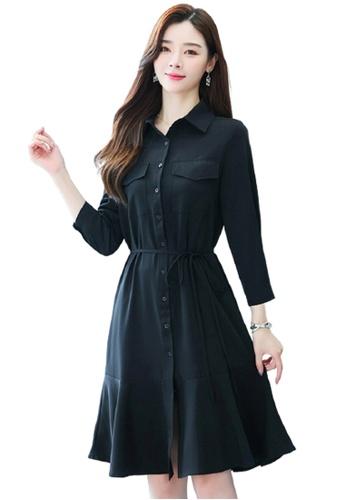 Halo black Plain Slim Mermaid Dress F815BAA5727EDCGS_1
