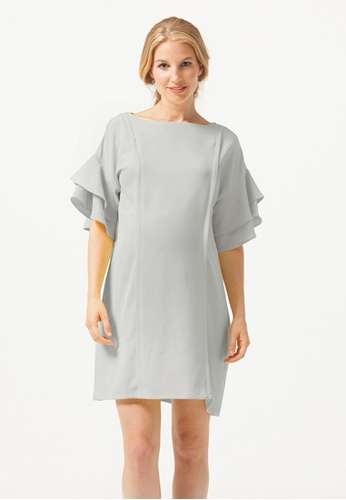 Bove by Spring Maternity grey Flare Sleeve Yulia Nursing Dress Grey ED16EAAABEDE98GS_1
