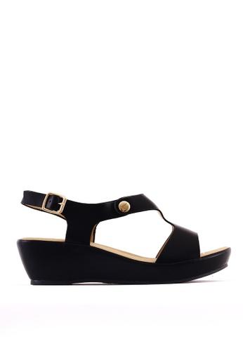 7soles black Aerene L Wedge Sandals 546DBSH9E6F67BGS_1
