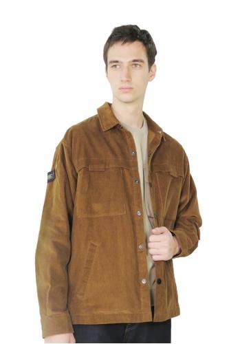 East Pole brown Men's Corduroy Multi Pockets Collar Shirt Jacket 08B8FAA6278897GS_1