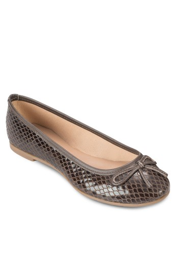 Chesprit 會員卡atain 蝴蝶結蛇紋平底鞋, 女鞋, 鞋