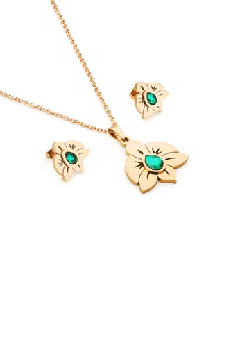 Glamorousky green Fashion and Elegant Plated Gold Flower 316L Stainless Steel Necklace and Stud Earrings with Green Cubic Zirconia 7D5FAACAD813F8GS_1