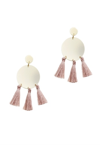 LUCCACAL pink Disc Tassel Earrings FD8ABAC3CF5B62GS_1