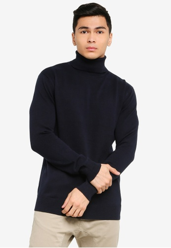 Brave Soul navy High Role Rib Neck Jumper 3811CAA843B6D7GS_1