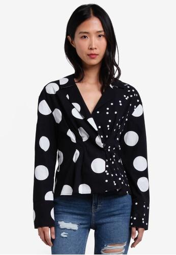 TOPSHOP black Mix Spot Waisted Shirt TO412AA0S4HQMY_1