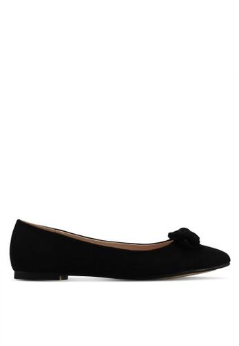 Velvet black Bow Detail Ballerina EAF2BSH269A20AGS_1