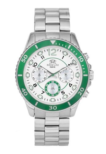 Roscani silver Roscani Liam 990 (Multifunction + WR 5ATM) Stainless Steel Green Bracelet Men Watch 38307AC5F29853GS_1