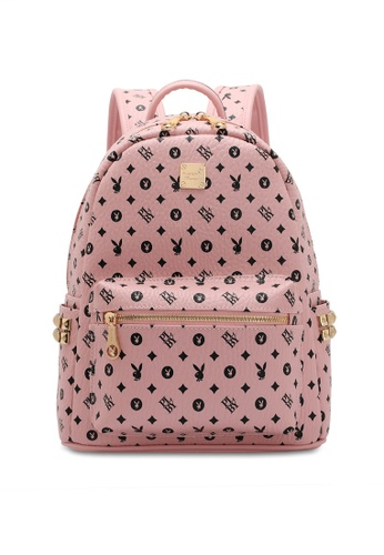 PLAYBOY BUNNY pink Women's Monogram Printed Backpack 24594AC42CD9EAGS_1