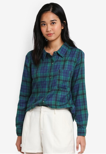 Supre green and blue and multi Checkered Shirt C86F1AA472E49FGS_1
