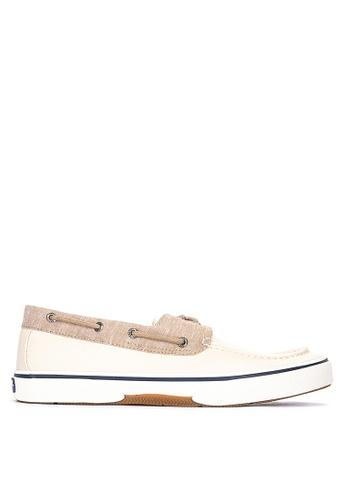 Sperry beige Halyard 2-Eye Chambray Sneakers 553B7SHC147179GS_1
