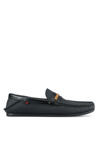 UniqTee black Front Braided Contrast Strap Loafers UN097SH0S214MY_1