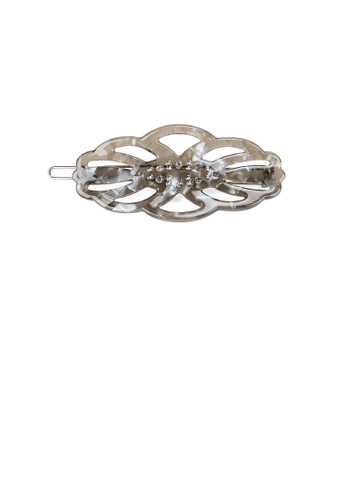 Glamorousky white Fashion Simple Grey Hollow Leaf Hair Clip with Cubic Zirconia 09003ACB3AF338GS_1