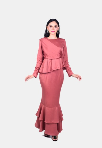 Adlynn Kurung Modern from KAMDAR in Pink and Brown