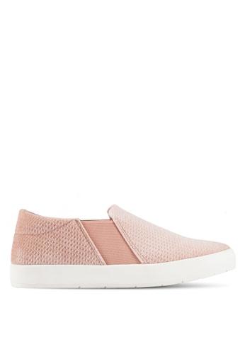 ZALORA pink Embossed Velvet Slip Ons A8CBDSH6922419GS_1