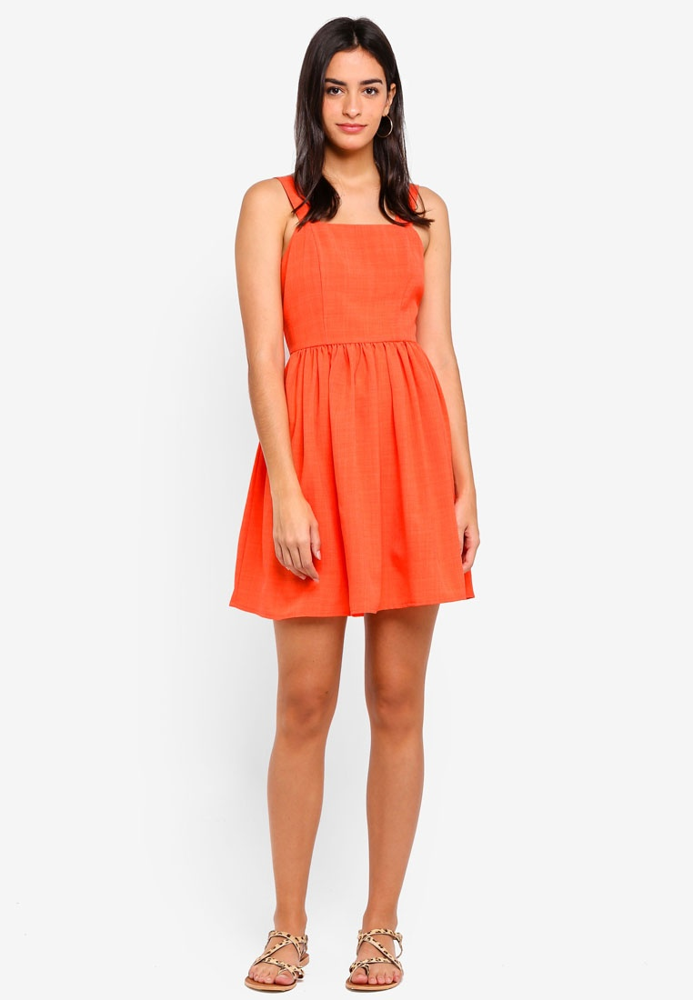 Dress Fit Flare Coral ZALORA And qq6rHpn