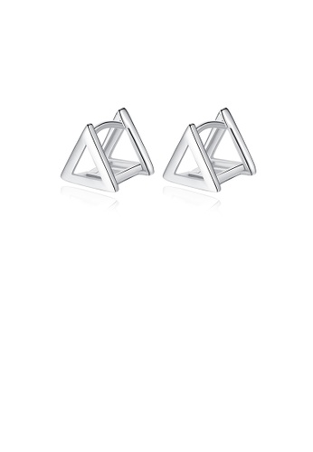 Glamorousky silver 925 Sterling Silver Simple Fashion Hollow Geometric Triangle Stud Earrings 1867CACBE14F68GS_1