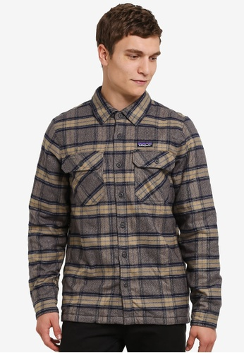 Patagonia grey Insulated Fjord Flannel Shirt Jacket PA549AA0RQFGMY_1