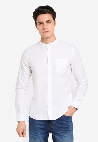 Burton Menswear London white White Long Sleeve Oxford Grandad Shirt BU964AA0T1GUMY_1