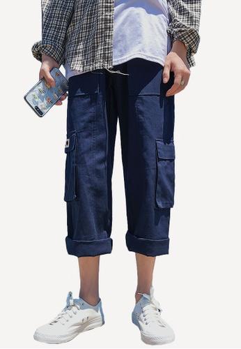 hk-ehunter 海軍藍色 寬鬆休閒褲 09483AA9F78EC4GS_1