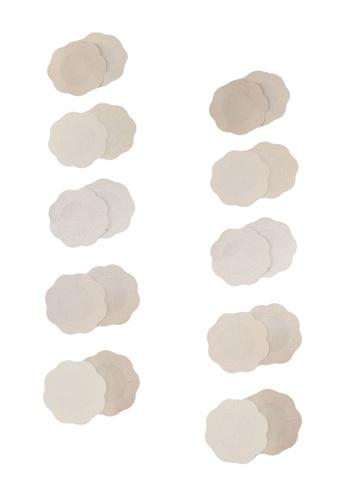 PINK N' PROPER beige Ultimate Disposable Flower Stick On Nipple Cover 10 Pack 0B979USDA3756BGS_1