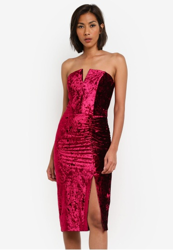 Miss Selfridge red Burgundy Bandeau Velvet Bodycon Dress MI665AA0SABSMY_1