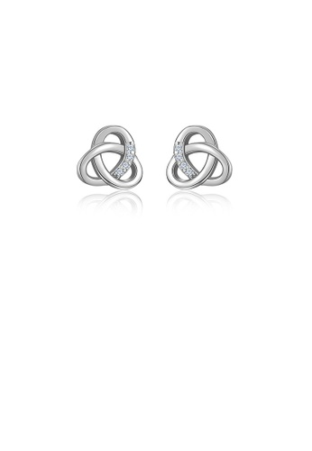 Glamorousky white 925 Sterling Silver Simple Temperament Chinese Knot Geometric Stud Earrings with Cubic Zirconia 1F00AACEE38BB8GS_1