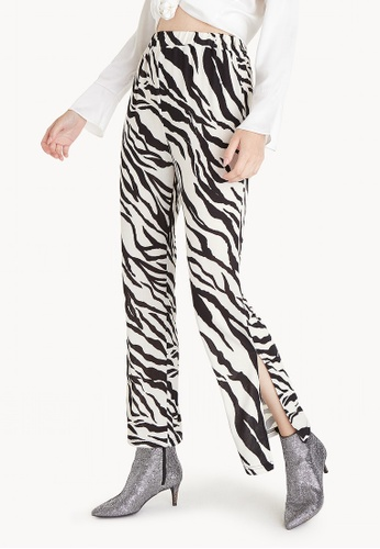 Pomelo black Side Slit Zebra Print Pants D23E8AA233E6F5GS_1