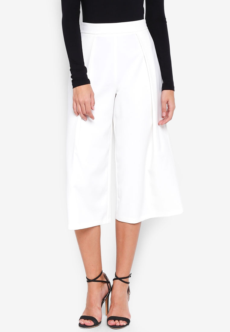 Core Front White Premium Culottes MISSGUIDED Pleat Tq4g4v