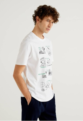 United Colors of Benetton white Peanuts Printed T-shirt A1F1BAAEA4AED2GS_1