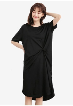 8c642683e2f Sesura black Casual Drape Chic Dress 6F267AA5BE7C49GS 1