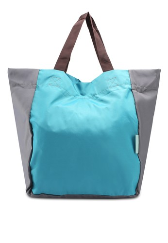 Bagstationz blue Colour Block Foldable Shopping Bigbag EE81EAC5F311ECGS_1