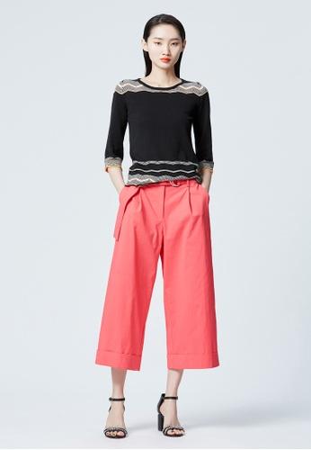 iROO orange Flare Cut Trousers 03EFCAAB0A6CADGS_1