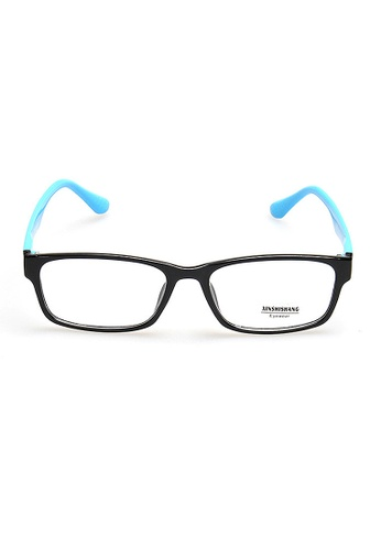 Elitrend black and blue Plastic Frame Glasses with Blue Arm CCF21GL90D9372GS_1