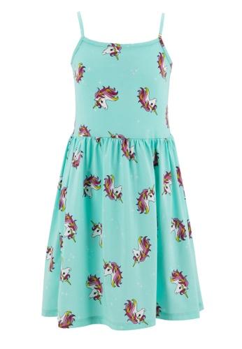 DeFacto blue Girl Leaf Patterned Strappy Dress 89425KAFD4818BGS_1