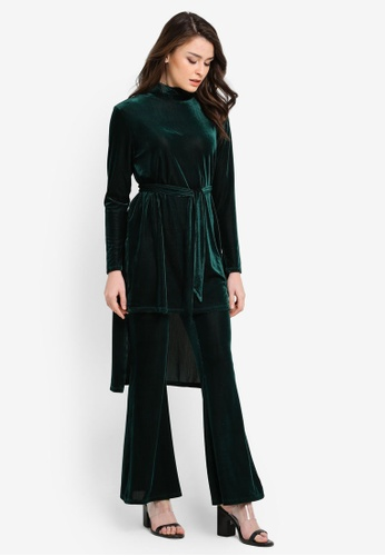 Zalia green Velvet Step Hem Top 6105AAAC97485FGS_1