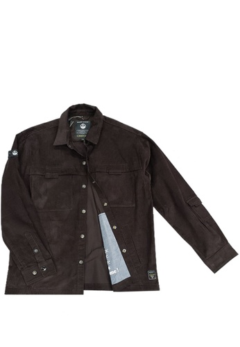 East Pole brown Men's Corduroy Multi Pockets Collar Shirt Jacket EA9BAAAE64854FGS_1
