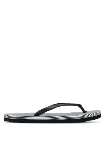 OVS black and white Rubber Flip Flops With Striped Sole FC61ASH2D2040FGS_1