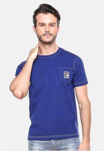 LGS - Slim Fit - Kaos Casual - Biru Gelap - Logo LGS - Berkantong.