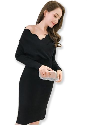 Sunnydaysweety black F/W Black Long Sleeves Wrap Midi Dress UA092039-0BK FBA9DAAC842EFEGS_1